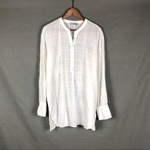 Vince Mandarin Collar White Blouse Sz Large